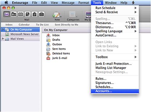Entourage Email setup